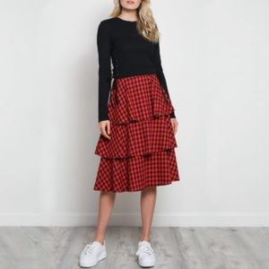 MUSTARD SEED Layered Gingham Skirt/S/NWT